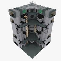 sci-fi wall corner parts 3d max