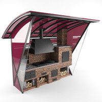 3d barbeque outdoor kitchen model