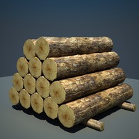 3d timber wood log