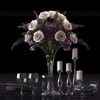 3d decorative set flowers model