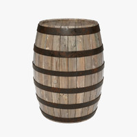 ma wooden barrel realistic metal
