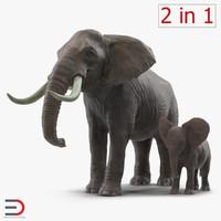 3d model elephants 2