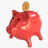 3d pig coin bank model