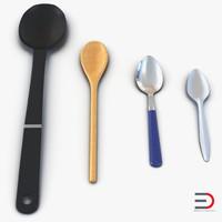 spoons set plastic 3d c4d