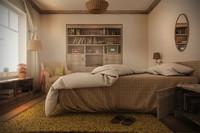farmhouse bedroom night day 3d model