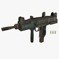 Uzi Submachine Gun mid-poly
