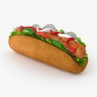 hot dog 3d max