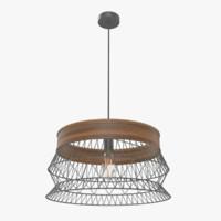 retro lattice wood chandelier 3d model