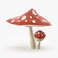 red mushrooms 3d model