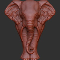 elephant bas-relief sculpture cnc 3d model
