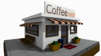 cartoon coffee shop 3d model