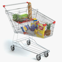 3d shopping cart food