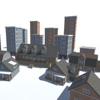 3d model city building pack houses