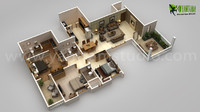 3BHK Modern 3D Floor Plan Design For Home