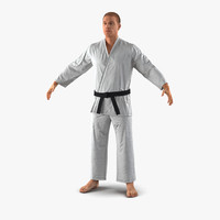 3d karate fighter fur model