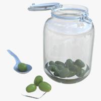 obj kitchen glass jar olives