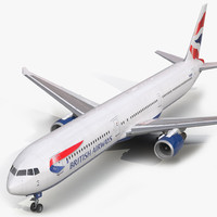 3d boeing 767-400er british airways model