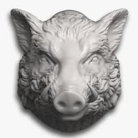 Boar Head Sculpture