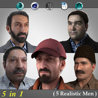 5 realistic men real 3d max