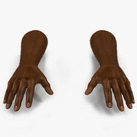 3d model african man hands fur