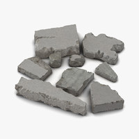 3d concrete chunks set model