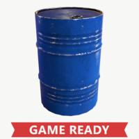 pbr old oil barrel 3d obj