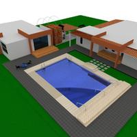 modern villa 3d c4d
