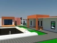 modern villa obj