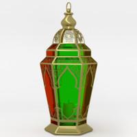 3d obj arabic lantern fanoos lamps