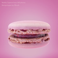 3d rose macarons scan model