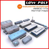 3d model industrial buildings set