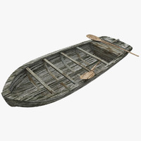 3d model old wood boat 1