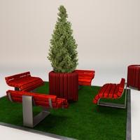 3d wooden litter bin model
