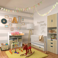 decorative set 3 children 3d max