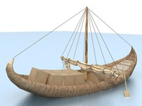 3d model old wooden boat sail