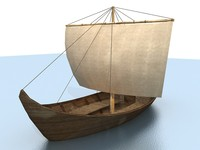 low poly boat sail on