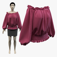 3d model sweet shirring shirt skirt