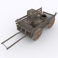 wagon props transporting 3d model