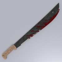 Machete Bloody Low Poly