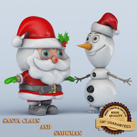 santa claus snowman 3d model