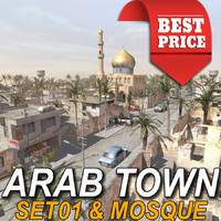 3d arab town-set01 mosque multi model