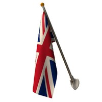 3d wall union jack flag model