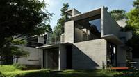3d architecture exterior scene model