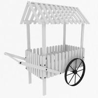 peddler flower cart 3d model