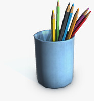 3d model pencils glass