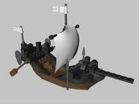 3d lego medieval ship