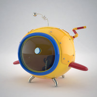 3d stylized cartoon mini submarine model