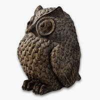 carved owl statue obj