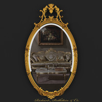 oval mirror gold crest 3d max