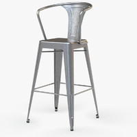 Vintage Metal Bar Stool with Back